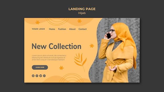 Modèle de page de destination de concept hijab