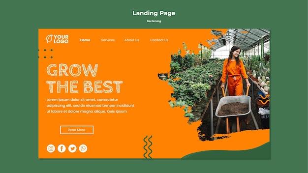 Modèle de page de destination de concept de jardinage