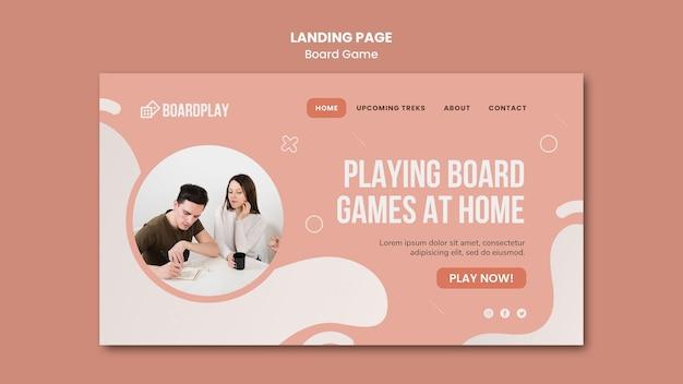 Modèle de page de destination de concept de jeu de société