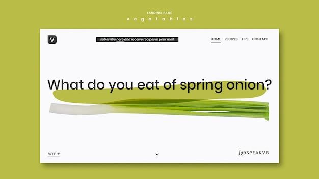 Modèle de page de destination de concept de légumes