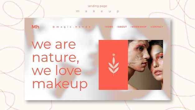 Modèle de page de destination de concept de maquillage