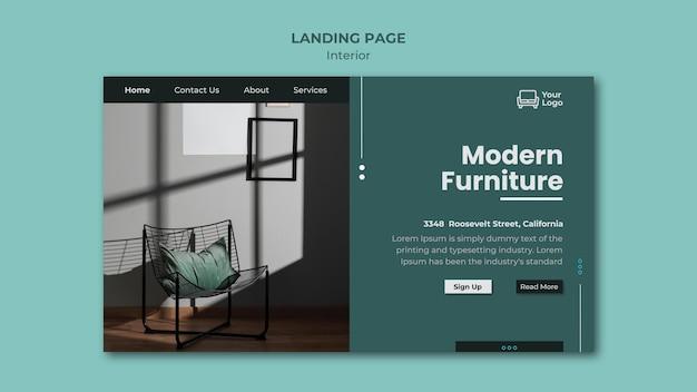 Modèle de page de destination de concept de meubles