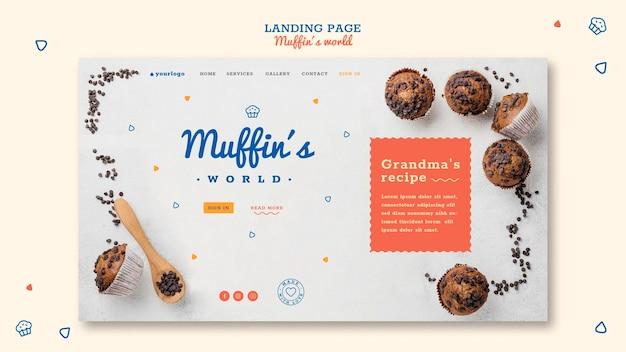 Modèle de page de destination de concept de muffins