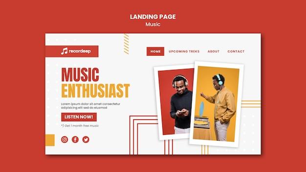 Modèle de page de destination de concept de musique