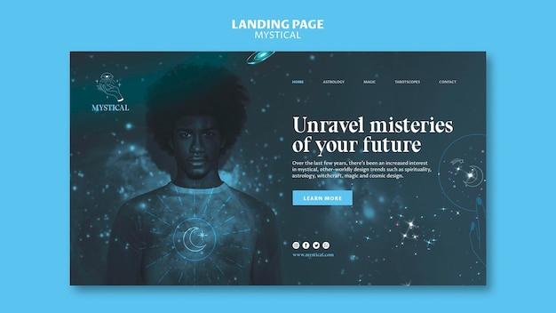 Modèle de page de destination de concept mystique