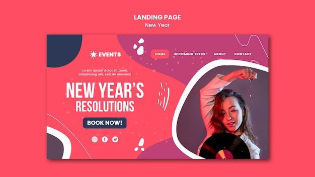 Modèle de page de destination de concept de nouvel an