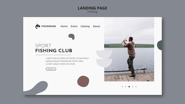 Modèle de page de destination de concept de pêche
