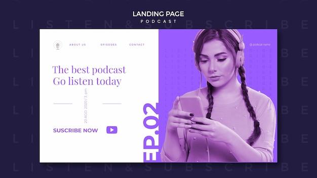 Modèle de page de destination de concept de podcast