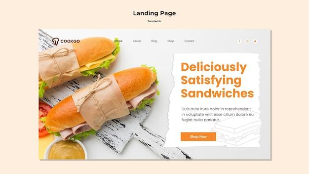 Modèle de page de destination de concept de sandwich