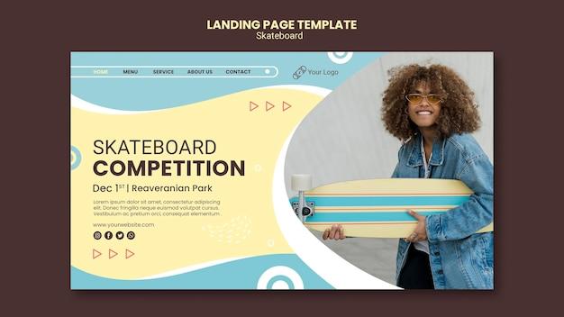 Modèle de page de destination de concept de skateboard
