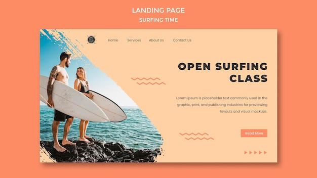 Modèle de page de destination de concept de surf
