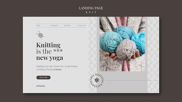 Modèle de page de destination de concept de tricot