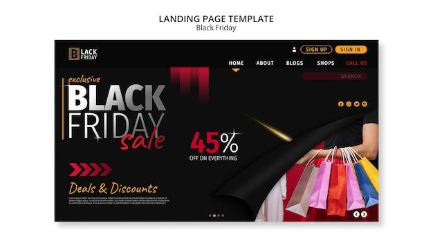 Modèle de page de destination de concept de vendredi noir