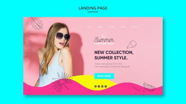 Modèle de page de destination avec concept de vente d'été