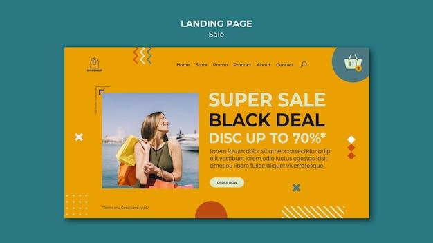 Modèle de page de destination de concept de vente