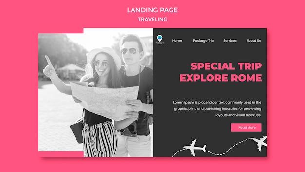 Modèle de page de destination de concept de voyage