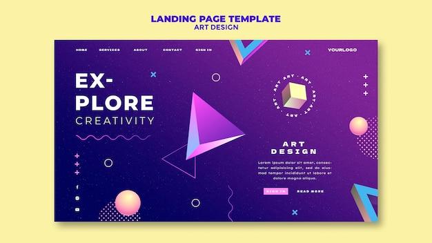 Modèle de page de destination de conception artistique