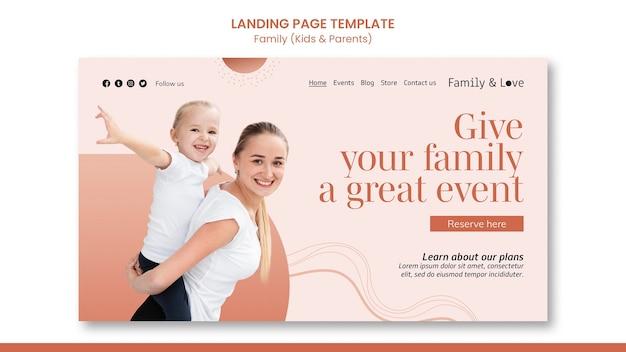 Modèle de page de destination de conception familiale