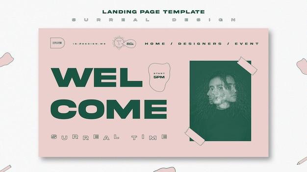 Modèle de page de destination de conception surréaliste