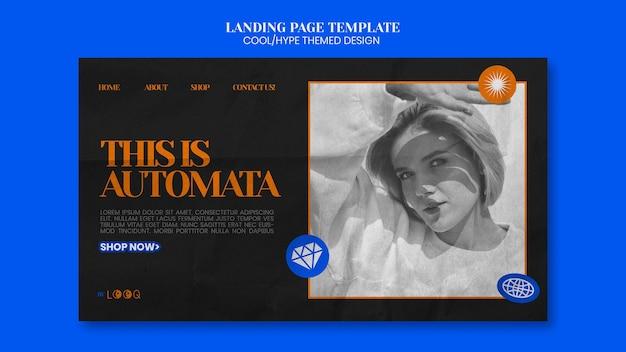Modèle de page de destination de conception à thème cool