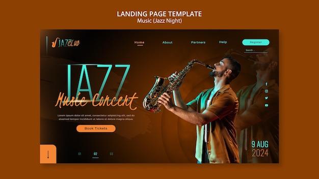 Modèle de page de destination de concert de jazz