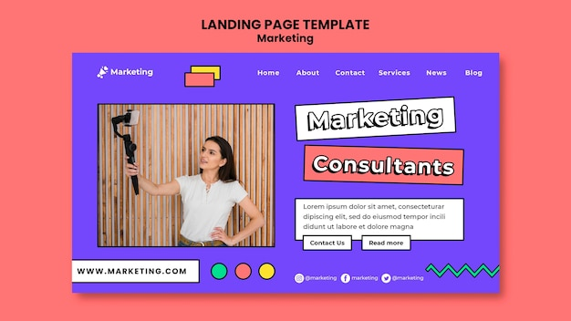 Modèle de page de destination des consultants en marketing