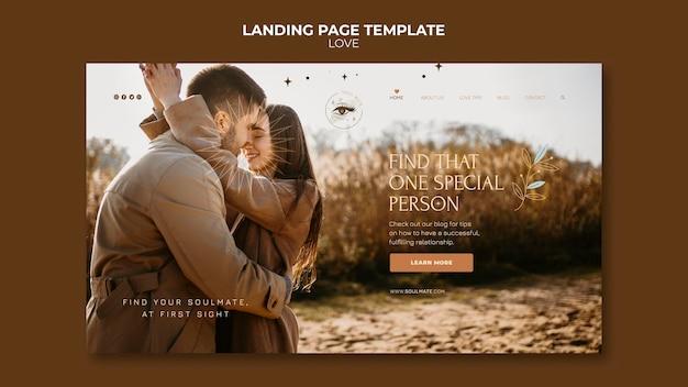 Modèle de page de destination de couple charmant