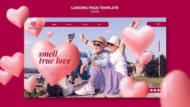 Modèle de page de destination de couple de personnes âgées