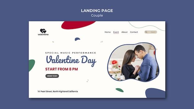 Modèle de page de destination couple saint valentin