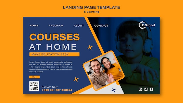 Modèle de page de destination des cours à domicile