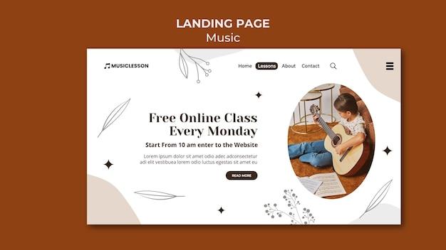 Modèle de page de destination de cours de guitare