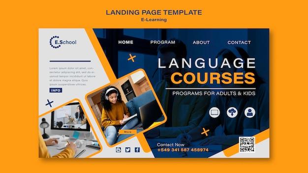 Modèle de page de destination des cours de langue