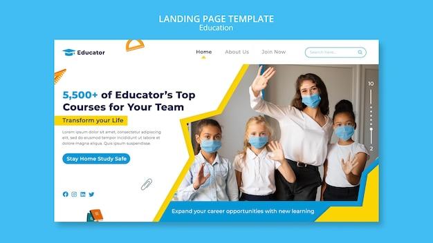 Modèle de page de destination des cours pour enseignants