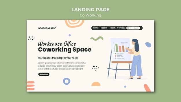Modèle de page de destination de coworking illustré