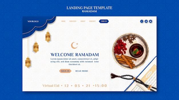 Modèle de page de destination créative pour le ramadan