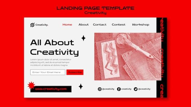 Modèle de page de destination de créativité