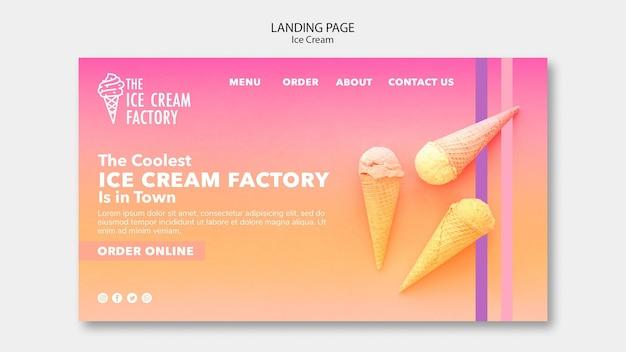 Modèle de page de destination de crème glacée