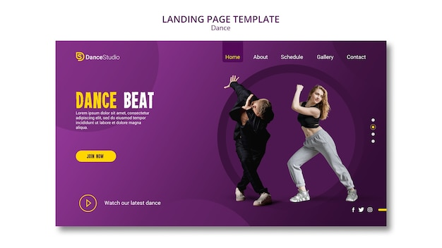 Modèle de page de destination dance beat