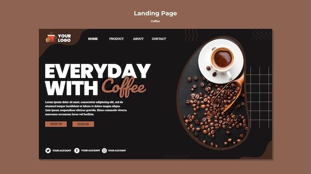 Modèle de page de destination de délicieux café