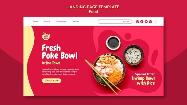 Modèle de page de destination délicieux poke bowl