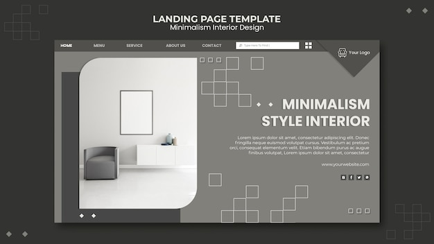 Modèle de page de destination de design d'intérieur minimaliste
