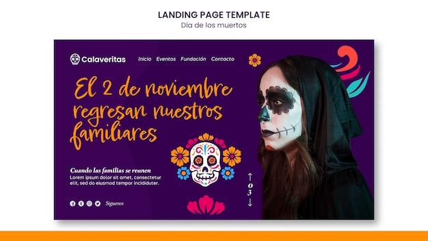 Modèle de page de destination dia de los muertos