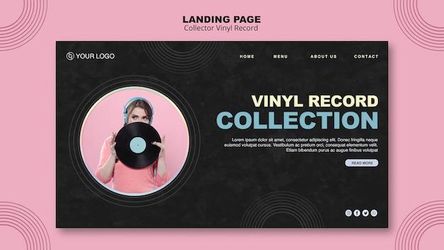 Modèle de page de destination de disque vinyle