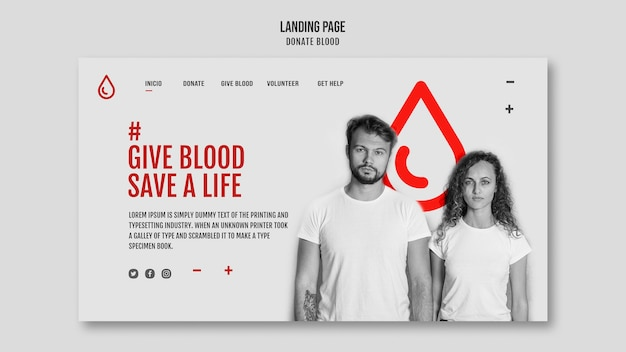 Modèle de page de destination de don de sang