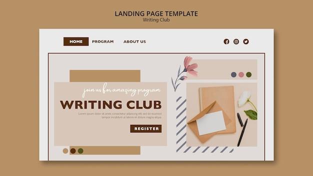 Modèle de page de destination du club d'écriture