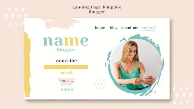 Modèle de page de destination du concept blogger