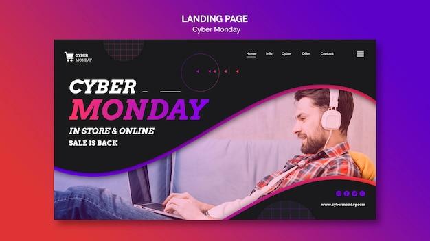 Modèle de page de destination du concept cyber monday