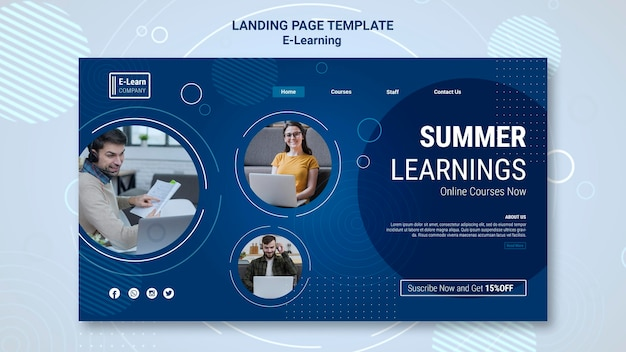 Modèle de page de destination du concept e-learning