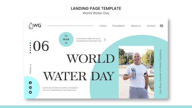 Modèle de page de destination du concept de la journée mondiale de l'eau