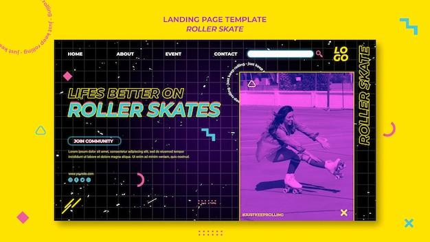 Modèle de page de destination du concept de patin à roulettes